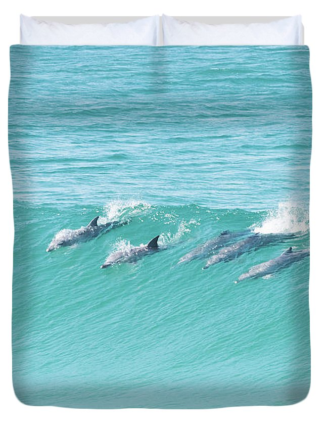 Dolphin Duvet Cover featuring the photograph Dolphin Team by Jodie Nash