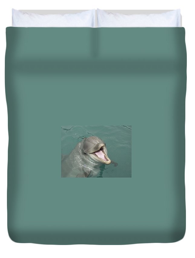 Dolphin Duvet Cover featuring the painting Dolphin by Sean M
