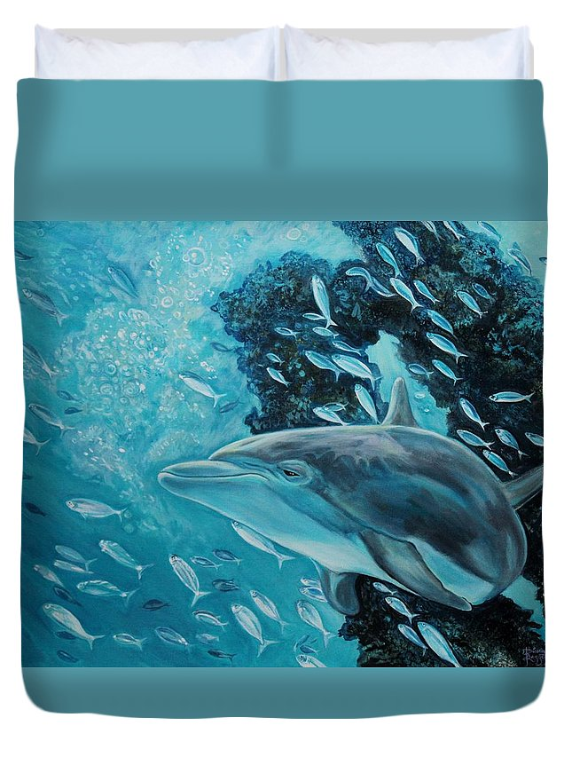 Underwater Scene Duvet Cover featuring the painting Dolphin with Small Fish by Diann Baggett