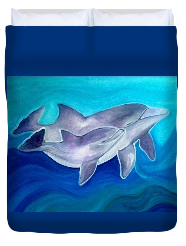 Dolphins Duvet Cover featuring the painting Dolphins by Camy De Mario