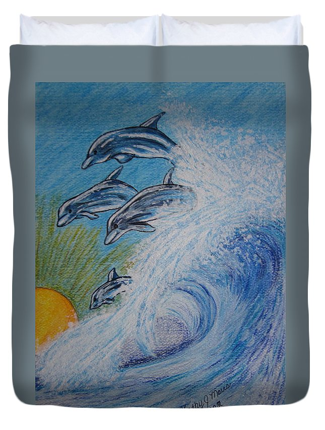 Dolphins Duvet Cover featuring the painting Dolphins Jumping In The Waves by Kathy Marrs Chandler