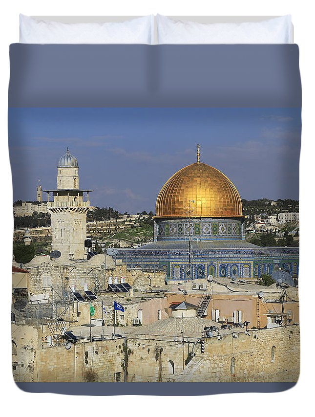Architecture Duvet Cover featuring the photograph Dome Of The Rock Jerusalem Israel by Ivan Pendjakov