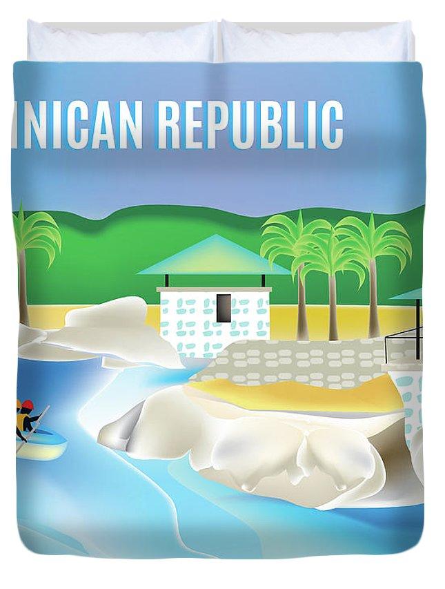 Dominican Republic Duvet Cover featuring the digital art Dominican Republic Horizontal Scene by Karen Young