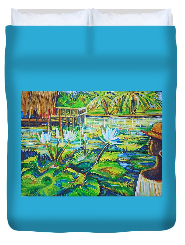 Tropics Duvet Cover featuring the painting Dominicana by Anna Duyunova