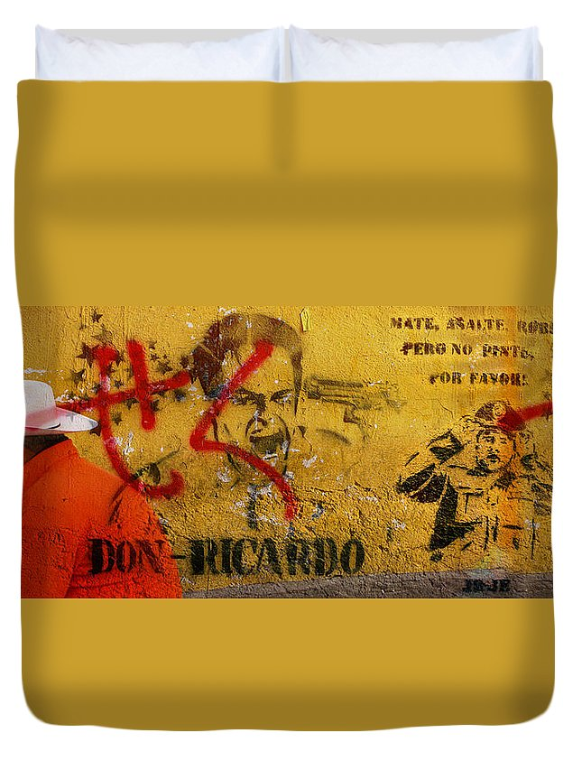 Grafitti Duvet Cover featuring the photograph Don-ricardo by Skip Hunt