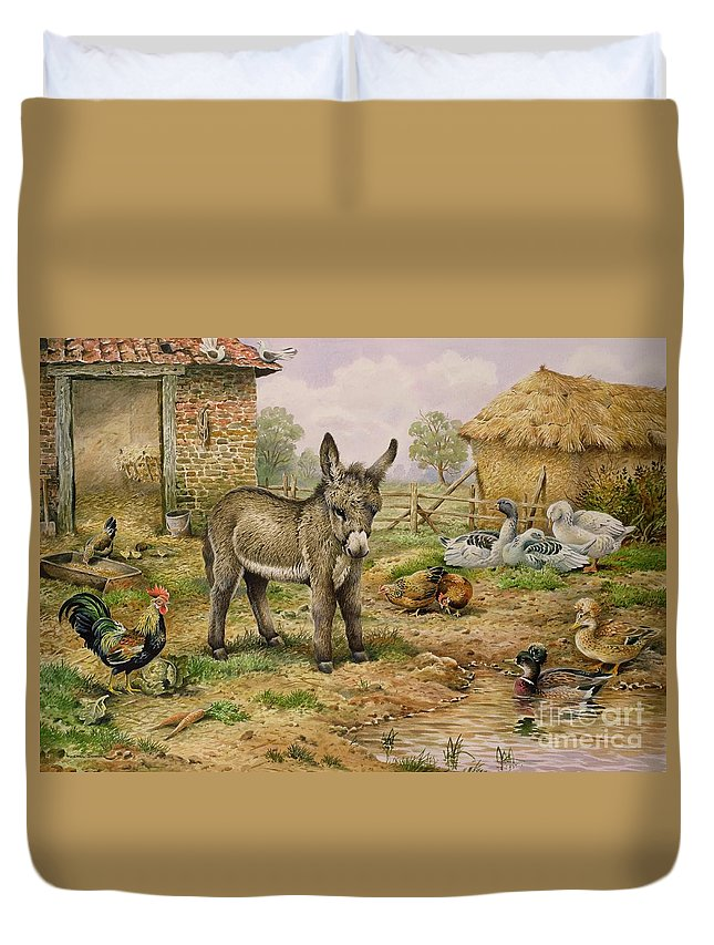 Farmyard Duvet Cover featuring the painting Donkey And Farmyard Fowl by Carl Donner