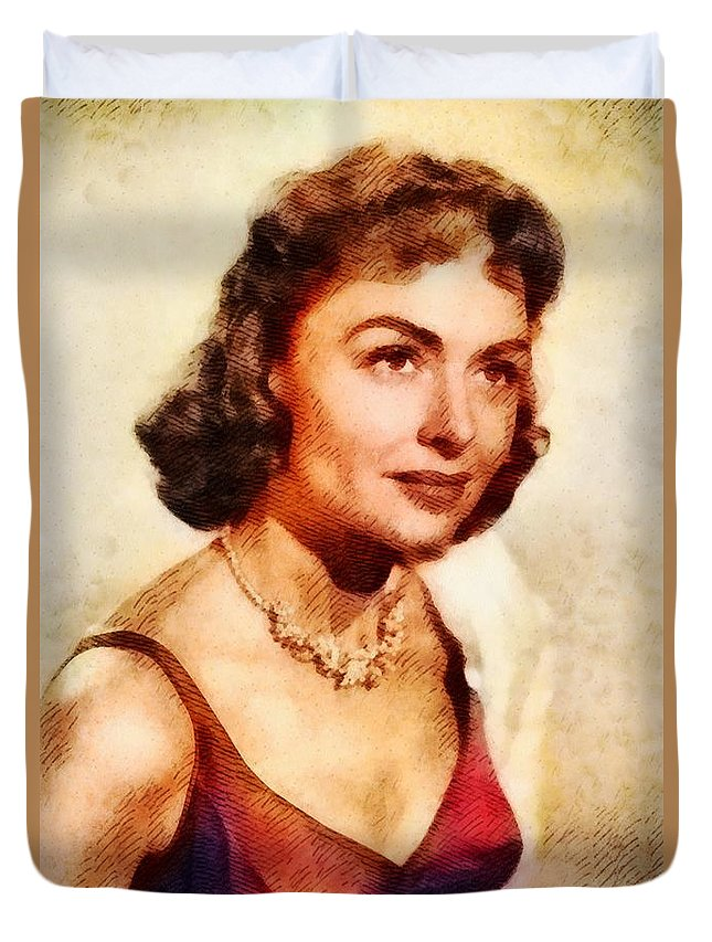 Hollywood Duvet Cover featuring the painting Donna Reed, Vintage Hollywood Actress by John Springfield