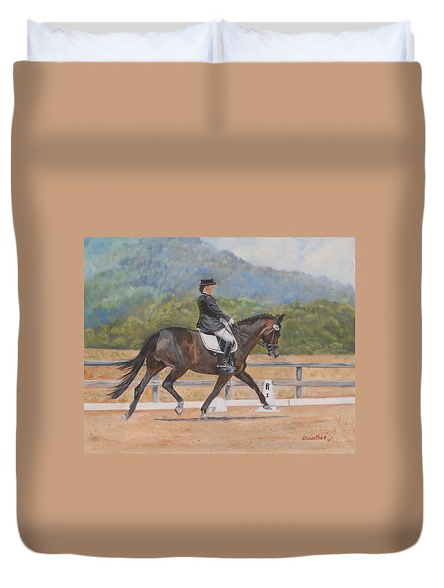 Horse Duvet Cover featuring the painting Donnerlittchen by Quwatha Valentine