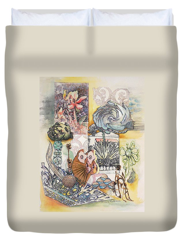 Abstract Duvet Cover featuring the painting Don't Artichoke by Valerie Meotti