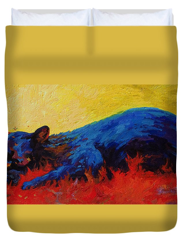 Western Duvet Cover featuring the painting Dont Bug Me by Marion Rose