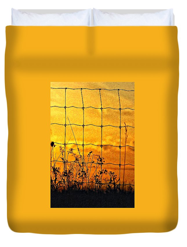 Weeds Duvet Cover featuring the photograph Don't Fence Me In by Steve Harrington