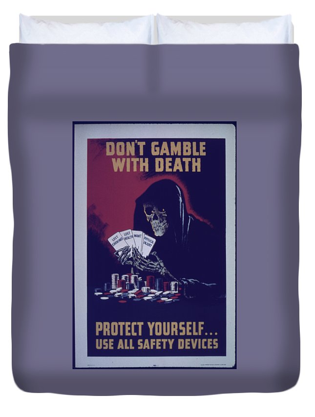 Flag Duvet Cover featuring the digital art Don't Gamble With Death by Frederick Holiday