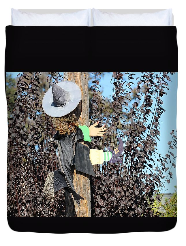 Witch Duvet Cover featuring the photograph Dont Hex And Fly by Gary Canant