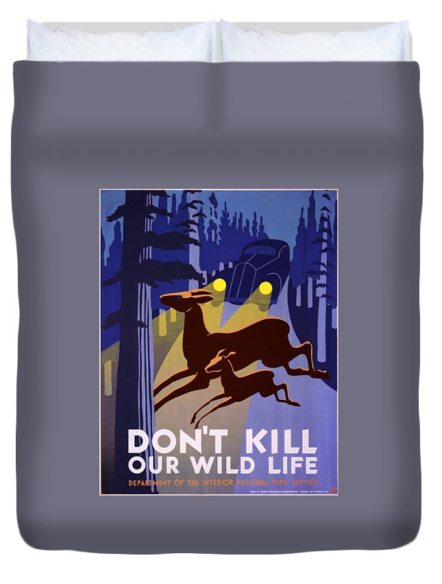 Flag Duvet Cover featuring the digital art Don't Kill Our Wildlife by Frederick Holiday