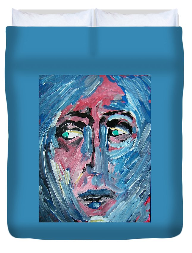 Abstract Duvet Cover featuring the painting Dont Leave by Judith Redman