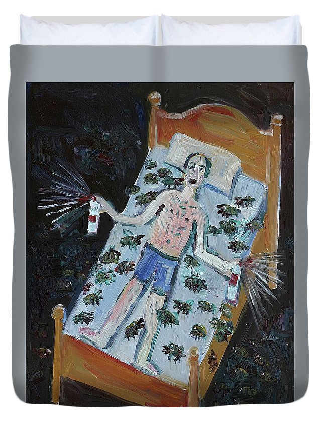 Bed Bugs Duvet Cover featuring the painting Don't Let The Bed Bugs Bite by John Kilduff