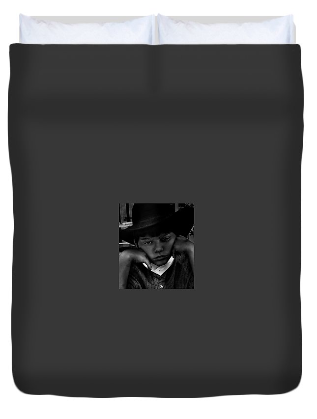 Portraits Of Young Boys Duvet Cover featuring the digital art Don't Make Me Pose by Serena Strong