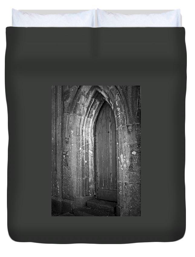 Irish Duvet Cover featuring the photograph Door At Protestant Church Macroom Ireland by Teresa Mucha