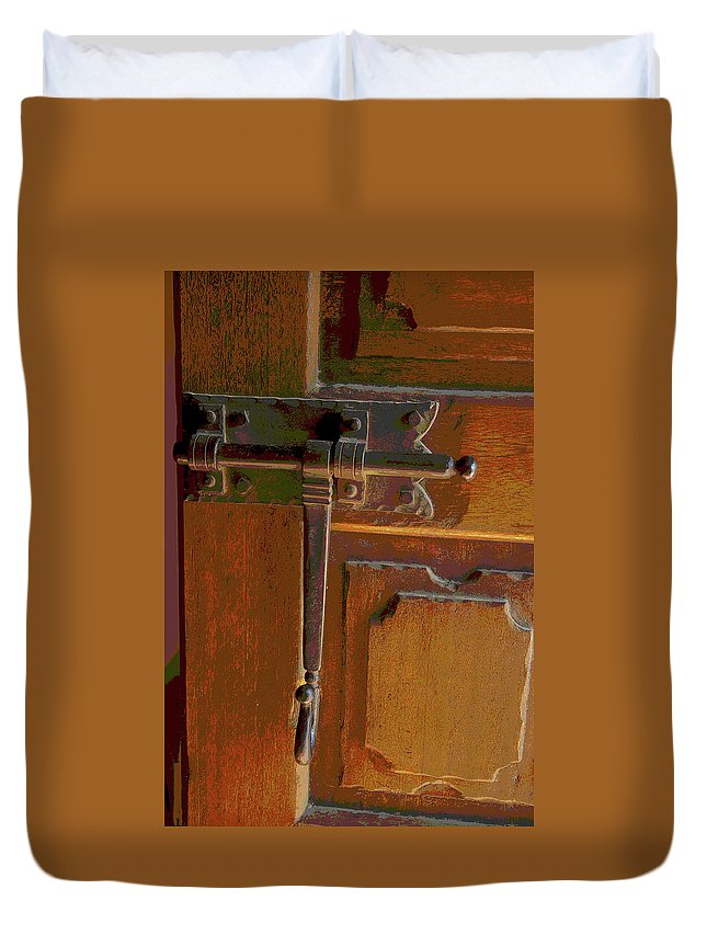 Door Bolts Duvet Cover featuring the photograph Door Bolt by Rob Johnston