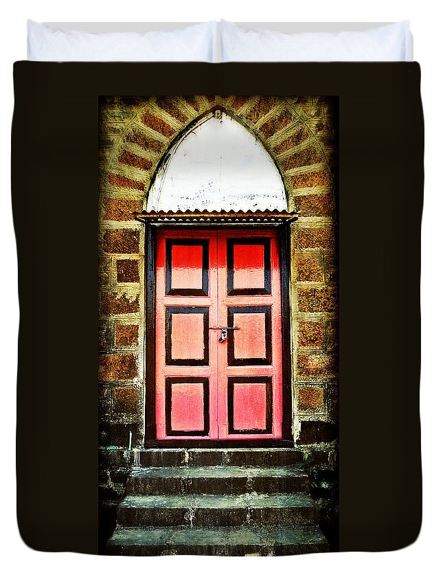 Duvet Cover featuring the photograph Door by Charuhas Images