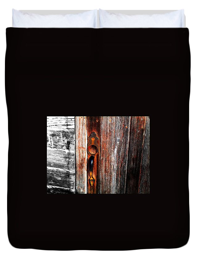 Wood Duvet Cover featuring the photograph Door To The Past by Julie Hamilton
