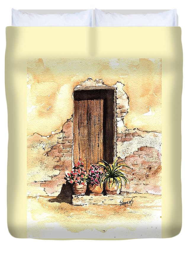 Door Duvet Cover featuring the painting Door With Flowers by Sam Sidders