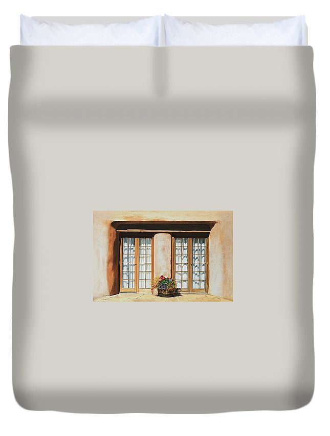 Usa Duvet Cover featuring the painting Doors Of Santa Fe by Mary Rogers