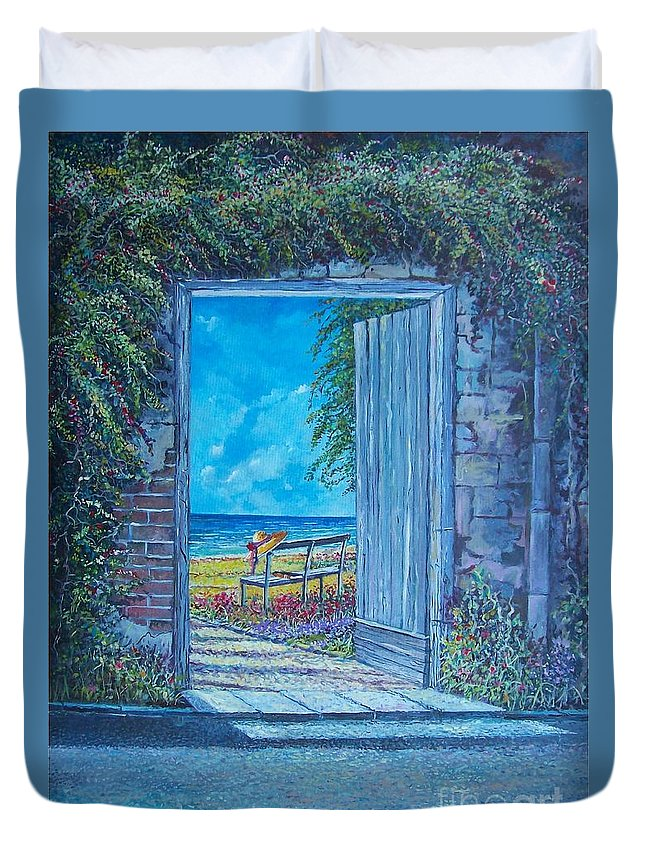 Original Painting Duvet Cover featuring the painting Doorway To ... by Sinisa Saratlic