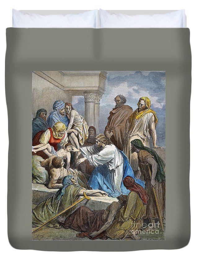 19th Century Duvet Cover featuring the photograph Dor�: Jesus Healing Sick by Granger