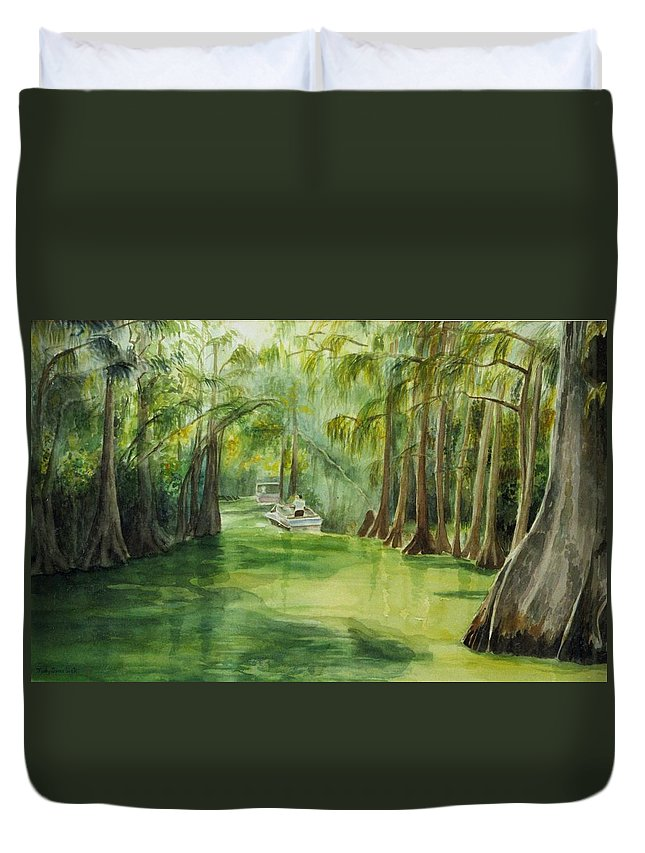 Passage Between Lakes Duvet Cover featuring the painting Dora Passage by Judy Swerlick
