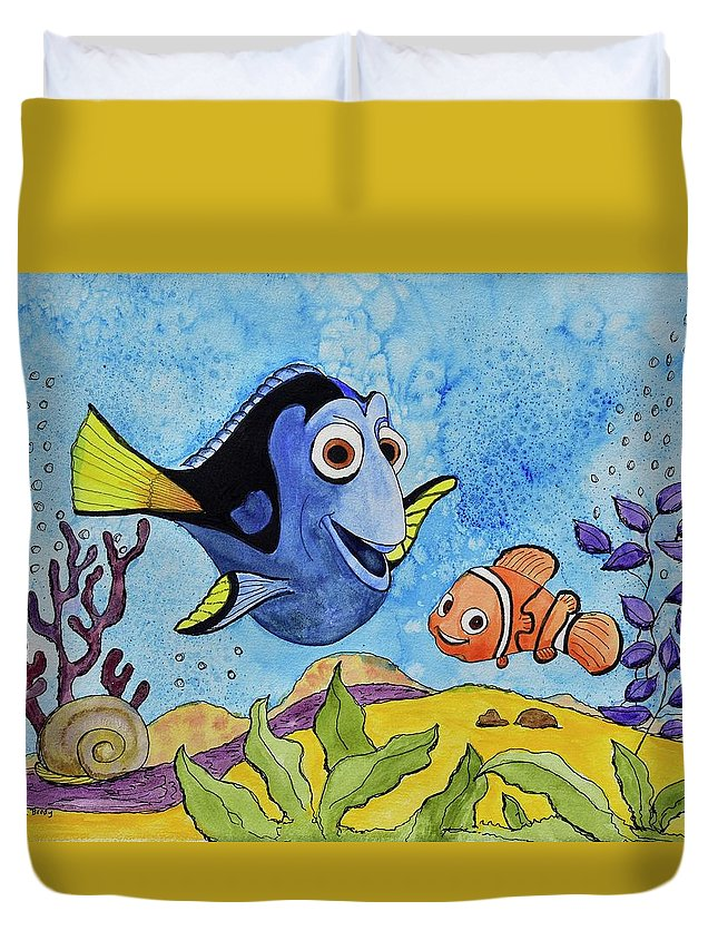 Linda Brody Duvet Cover featuring the painting Dori And Nemo by Linda Brody
