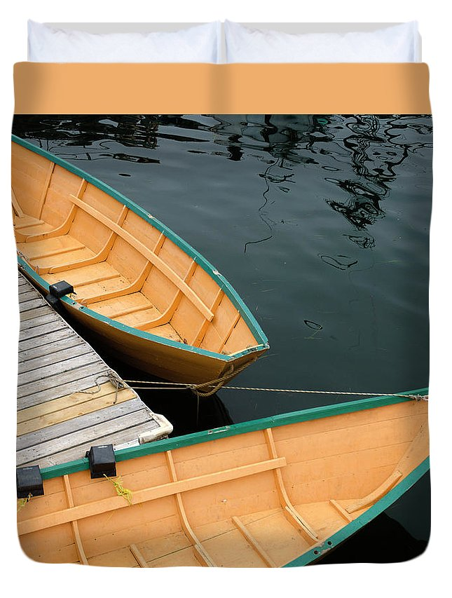 Duvet Cover featuring the photograph Dories by Michael Mitchell