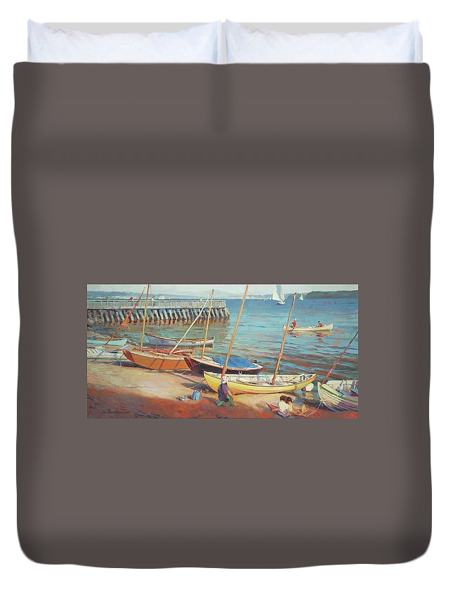 Landscape Duvet Cover featuring the painting Dory Beach by Steve Henderson