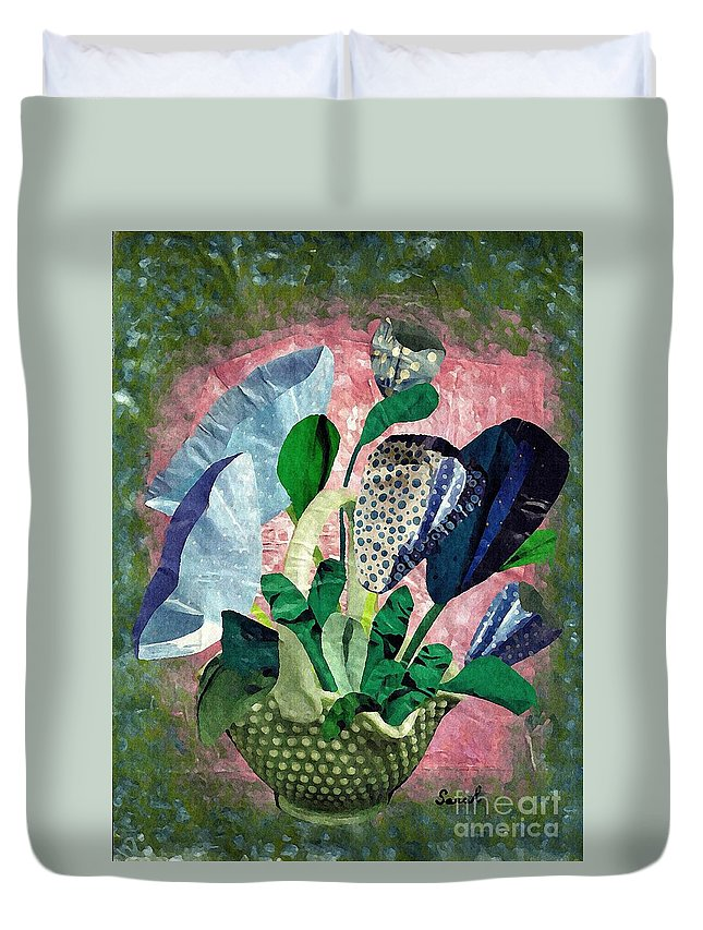 Floral Duvet Cover featuring the mixed media Dot Bouquet by Sarah Loft