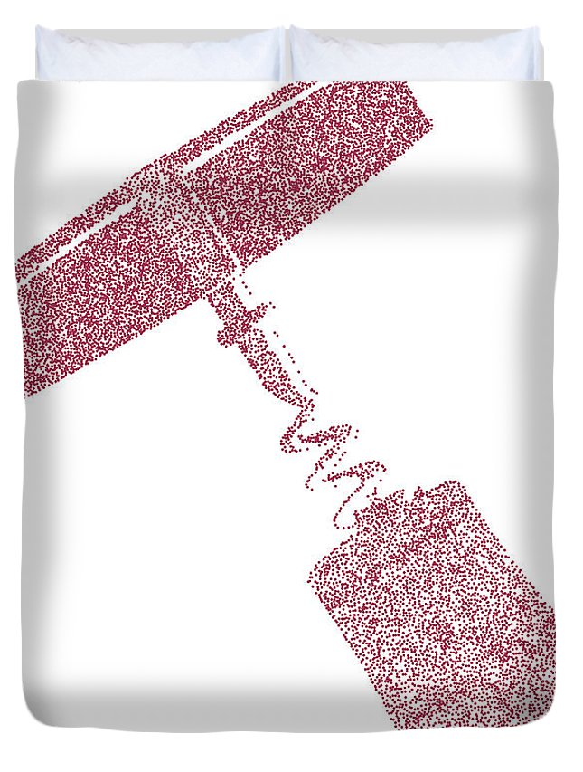 Corkscrew Duvet Cover featuring the digital art Doted Corkscrew With Cork by Bigalbaloo Stock
