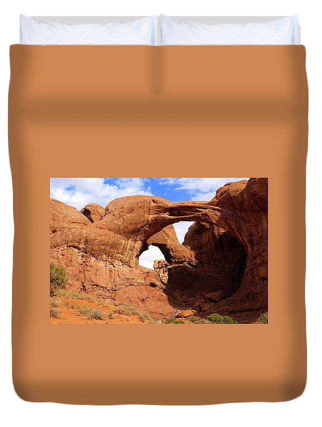 Southwest Art Duvet Cover featuring the photograph Double Arch by Marty Koch