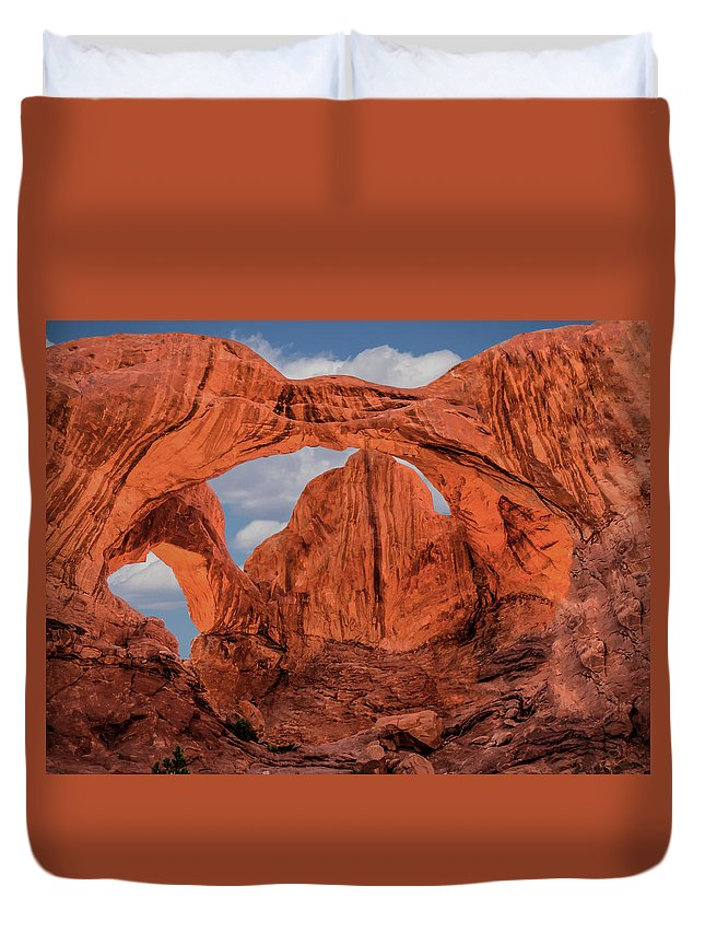 Pennysprints Duvet Cover featuring the photograph Double Arches At Arches National Park by Penny Lisowski