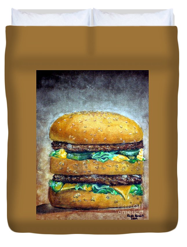 Still Life Duvet Cover featuring the painting Double Burger To Go by Kayla Bozoti