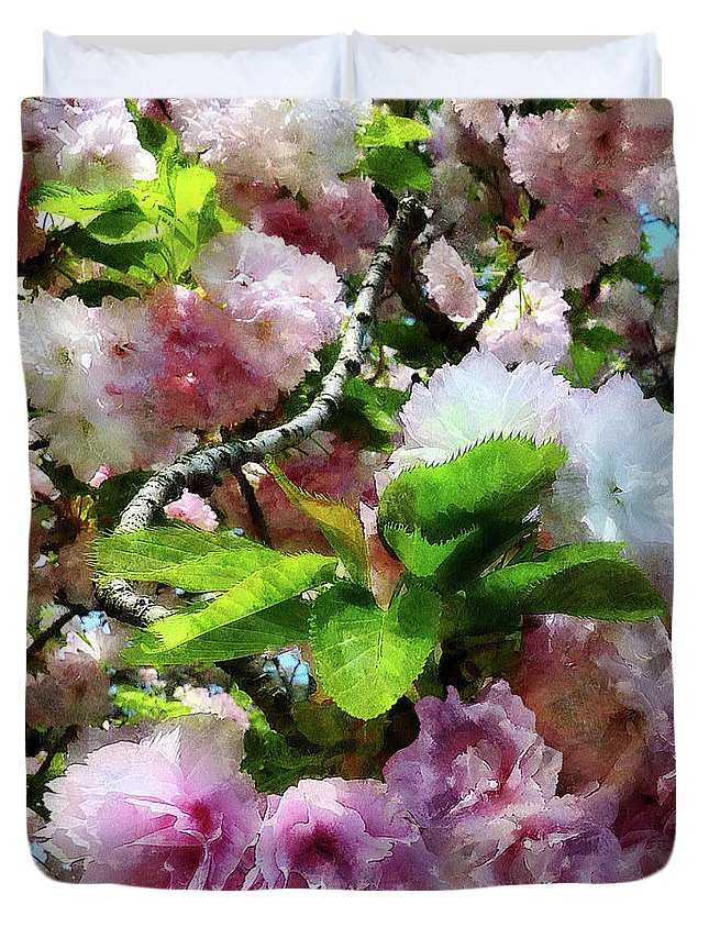 Cherry Blossom Duvet Cover featuring the photograph Double Cherry Blossoms by Susan Savad