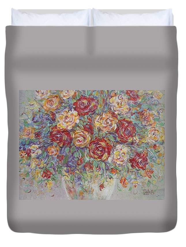 Flowers Duvet Cover featuring the painting Double Delight. by Natalie Holland