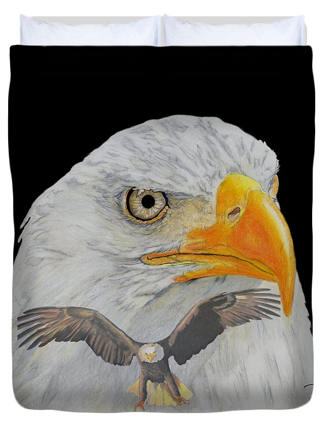 Eagle Duvet Cover featuring the drawing Double Eagle by Bill Richards