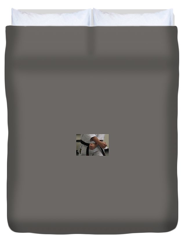Karate Duvet Cover featuring the photograph Double Fisted by Kelly Mezzapelle