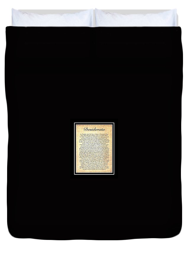Desiderata Duvet Cover featuring the mixed media Double Matted Fossilized Desiderata by Desiderata Gallery