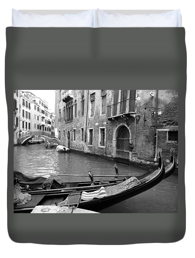 Venice Duvet Cover featuring the photograph Double Parked by Donna Corless
