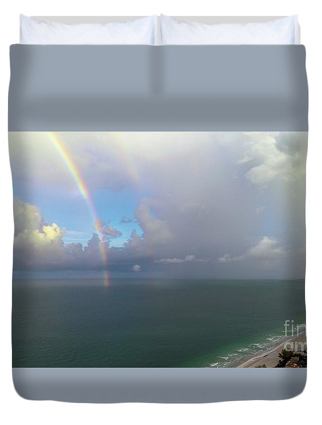 Rainbow Duvet Cover featuring the photograph Double Rainbow by Patrick Donovan