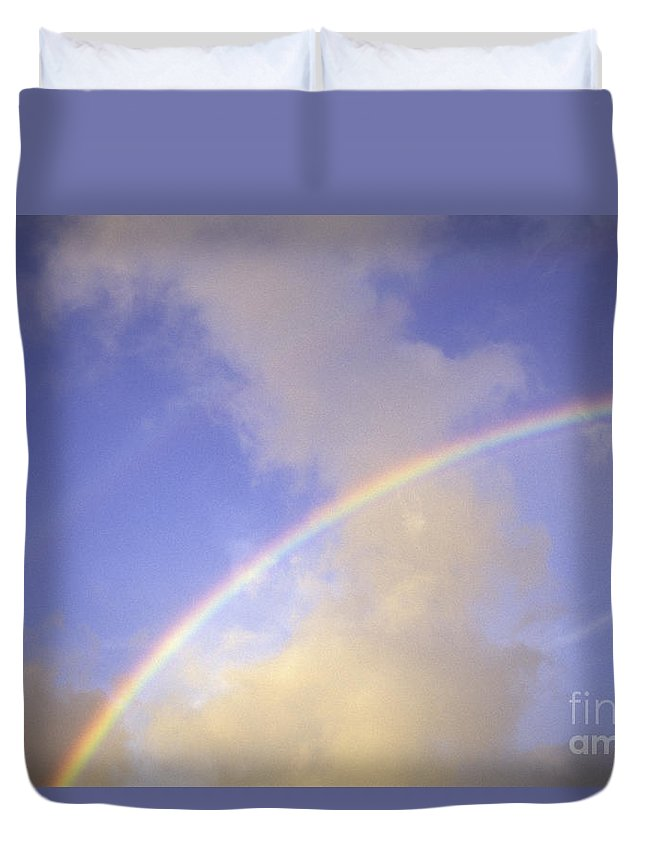 Above Duvet Cover featuring the photograph Double Rainbows by Carl Shaneff - Printscapes