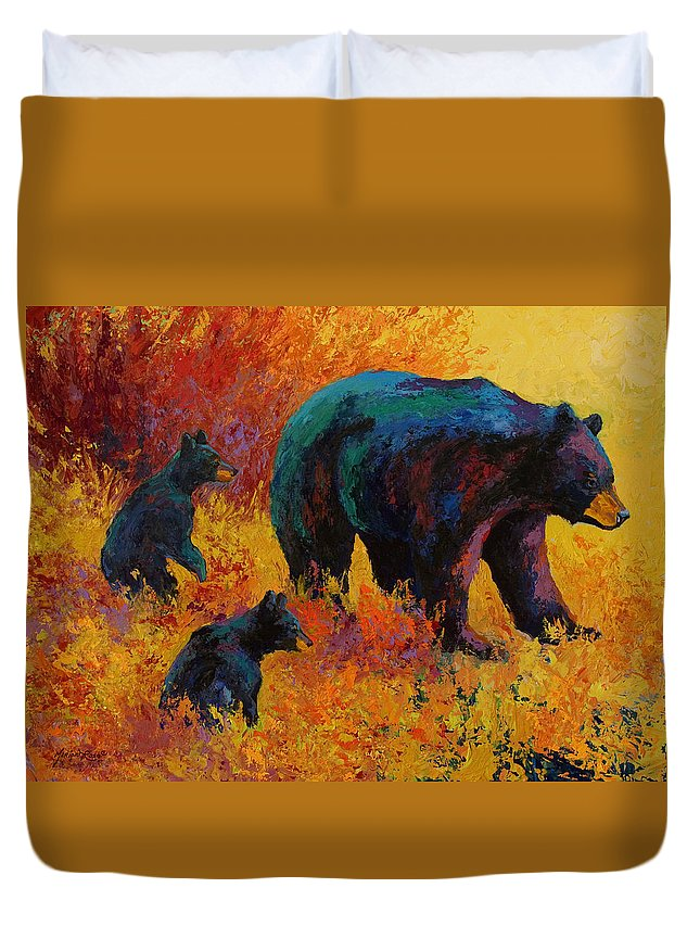 Bear Duvet Cover featuring the painting Double Trouble - Black Bear Family by Marion Rose