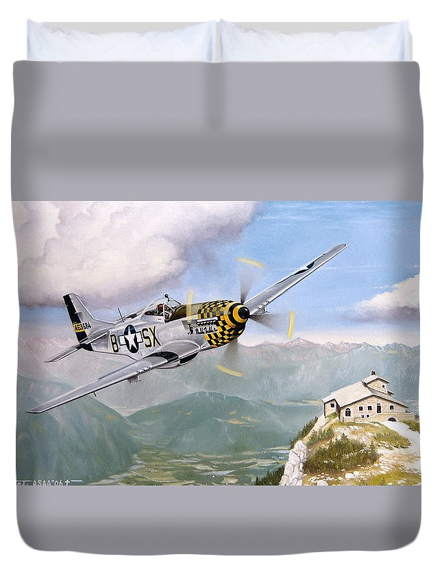 Military Duvet Cover featuring the painting Double Trouble Over The Eagle by Marc Stewart