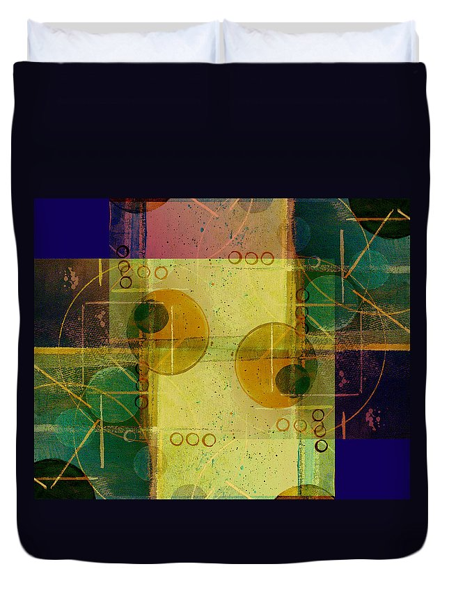 Abstract Duvet Cover featuring the digital art Double Vision by Ruth Palmer