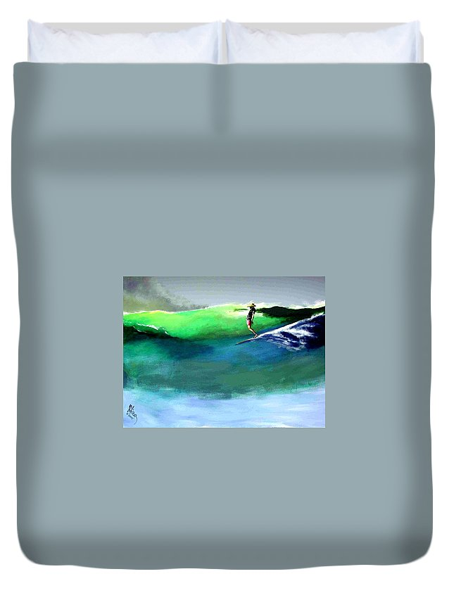 Surf Duvet Cover featuring the painting Doug Working Late Off Encinitas by Paul Miller